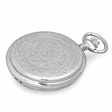 Engraved Quartz Charles Hubert Pocket Watch & Chain #3559