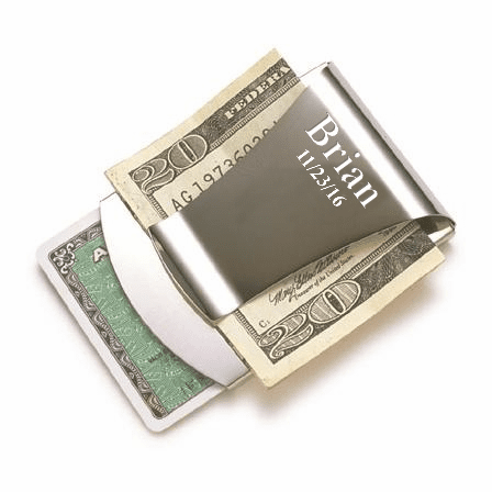 Engraved Metal Money Clip & Credit Card Holder - Silver