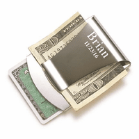 Engraved Smart Money Clip & Credit Card Holder - Silver