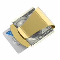 Engraved Metal Money Clip & Credit Card Holder - Gold