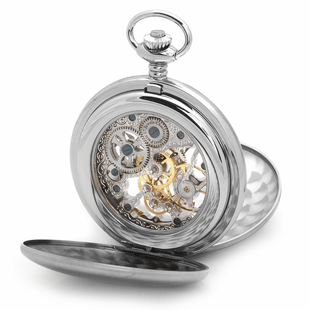 Engraved Stainless Steel Charles Hubert Pocket Watch & Chain #3780-W