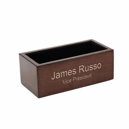 Espresso Finish Wooden Desktop Business Card Holder