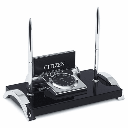 Executive Collection Dual Pen Stand With Clock and Business Card Holder by Citizen