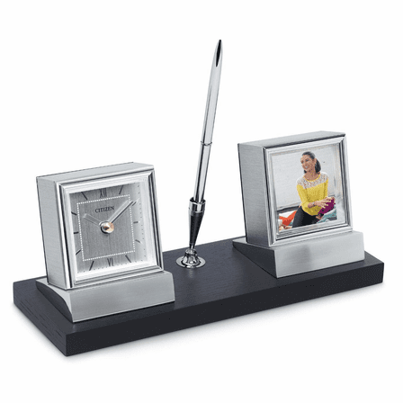 Executive Collection Pen Stand With Clock and Photo Frame by Citizen