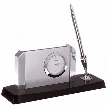 Executive Collection Pen Stand With White Dial Clock and Business Card Holder by Citizen