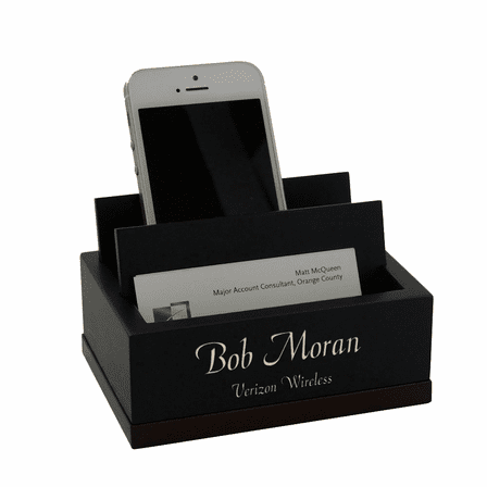 Executive Wooden Cell Phone And Business Card Holder