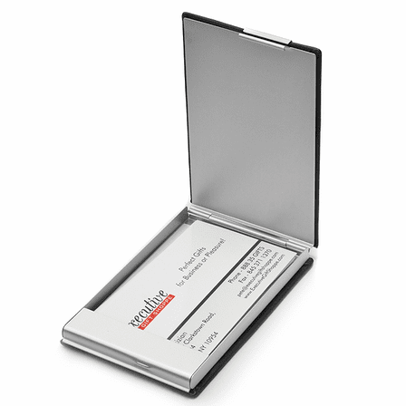 Faux Black Leather Business Card Holder