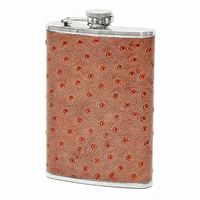 Faux Ostrich Leather Wrap Flask