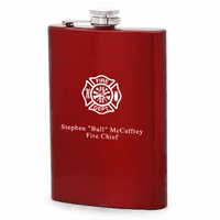 Fire Department Personalized Red Flask