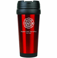Firefighter's Personalized Red Travel Coffee Mug