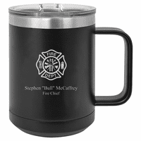 Firefighter's Shield Personalized Black Insulated Polar Camel Coffee Mug