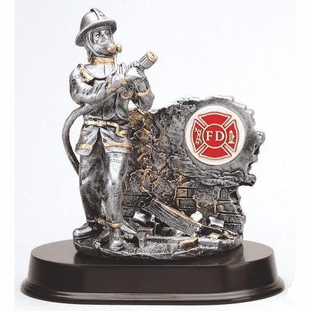Firefighter With Hose Personalized Desktop Award