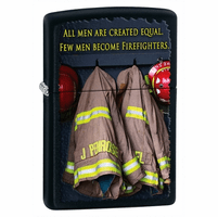 Firefighters Black Matte Zippo Lighter - ID# 28316 - Discontinued
