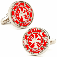 Firemens Shield nickel plated cufflinks