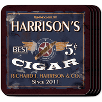 Five Cent Cigar Coaster Set - Free Personalization