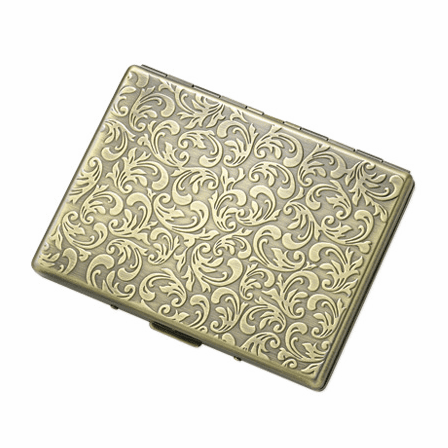 Floral Antique Gold Cigarette Case for Kings and 100s