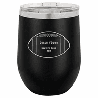 Football Coach's Black Insulated Stemless Wine Glass
