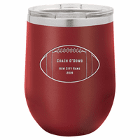 Football Coach's Maroon Insulated Stemless Wine Glass