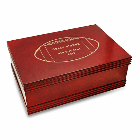 Football Coach's Personalized Cherry Finish Keepsake Box