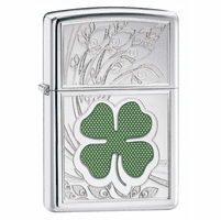 Four Leaf Clover High Polish Chrome Zippo Lighter - Free Engraving - ID# 24699