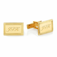 Framed Border 14 Karat Gold Engravable Cufflinks - Discontinued