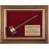 Framed Walnut Gavel Plaque
