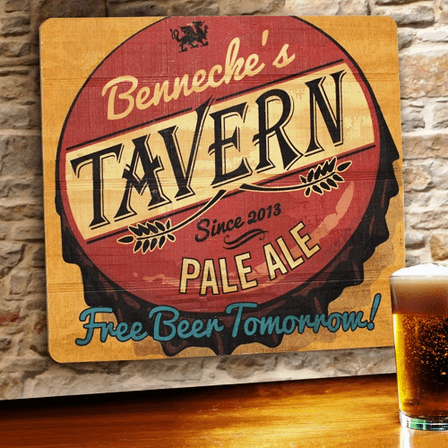 Free Beer Tomorrow  Wooden Bar Sign - Free Personalization