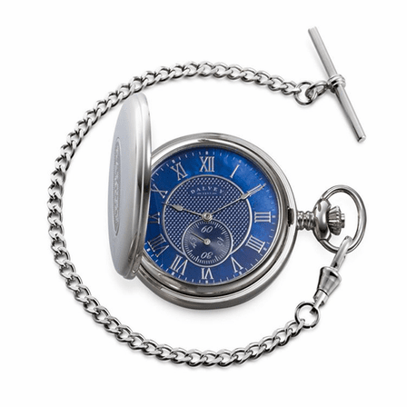 Full Hunter Blue Dial Pocket Watch & Stand by Dalvey - Discontinued