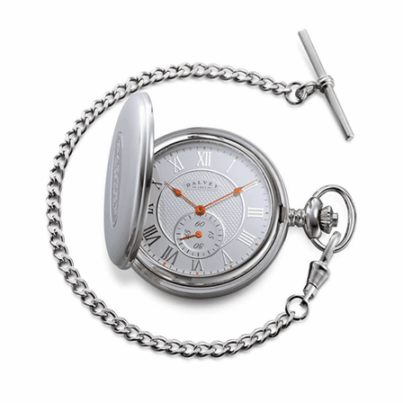 Full Hunter White & Orange Dial Pocket Watch & Stand by Dalvey