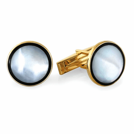 Full Moon Onyx & Mother of Pearl 14K Gold Cufflinks