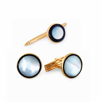 Full Moon Onyx & Mother of Pearl 14K Gold Cufflinks & Studs Set