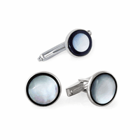 Full Moon Onyx & Mother of Pearl Sterling Silver Cufflinks & Studs Set