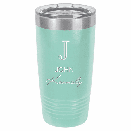 Full Name Monogram 20 Ounce Teal Polar Camel Travel Mug