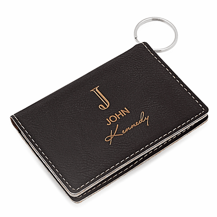 Full Name Monogram Black ID Holder & Keychain