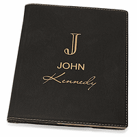 Full Name Monogram Black Leatherette Mini Portfolio