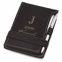 Full Name Monogram Black Leatherette Notepad & Pen