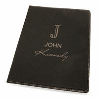 Full Name Monogram Black Leatherette Portfolio