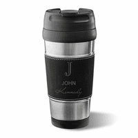 Full Name Monogram Black Leatherette Travel Mug