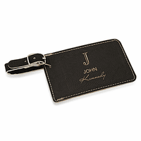 Full Name Monogram Black Luggage Tag