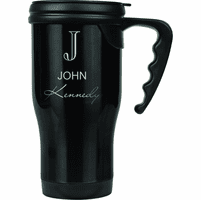Full Name Monogram Black Travel Coffee Mug With Handle