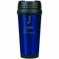 Full Name Monogram Blue Travel Coffee Mug