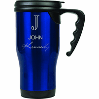 Full Name Monogram Blue Travel Coffee Mug With Handle