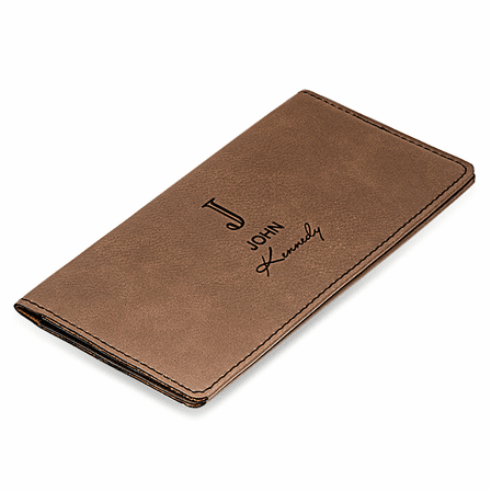Full Name Monogram Dark Brown Checkbook Cover