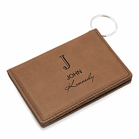Full Name Monogram Dark Brown ID Holder & Keychain