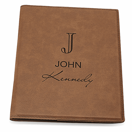 Full Name Monogram Dark Brown Leatherette Mini Portfolio