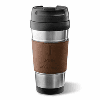 Full Name Monogram Dark Brown Leatherette Travel Mug