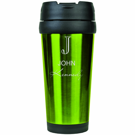 Full Name Monogram Green Travel Coffee Mug
