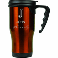 Full Name Monogram Green Travel Coffee Mug With Handle