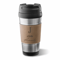 Full Name Monogram Light Brown Leatherette  Travel Mug