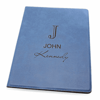 Full Name Monogram Navy Blue Leatherette Portfolio